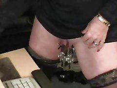 Sub granny with huge clit has fun at computer
