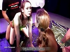 Two brunette sluts getting soaked by men part1
