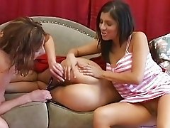 Two horny lesbian babes playing with their sleeping friend