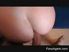 Babe sucking her agents hard cock part3