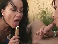 2 girls dildo a guy