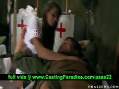 Madelyn Marie busty nurse blowjobs huge cock