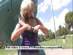 Lovely Amateur blonde flashing in a public park