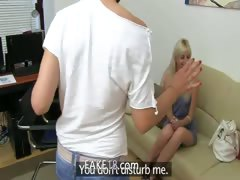 Skinny blondie sexing on fake casting
