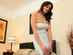 Busty brunette woman in super hot shoes