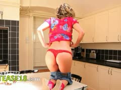 Red shoes in kitchen on hot teasing babe