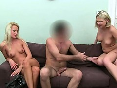 Two hot blonds ass fucking on ottoman