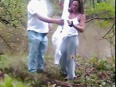 Husband filming autdor