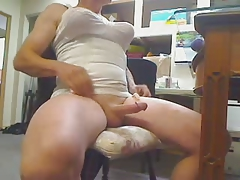 White Corsolete Stroking Penis