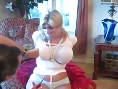 Bound & Gagged Buxom Blonde Hopping Around