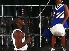 Ebony cheerleaders saves self by sucking cock