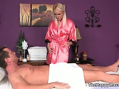 Hot blonde masseuse gives an extra