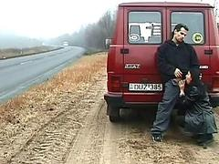 horny whore sucks cock on the road