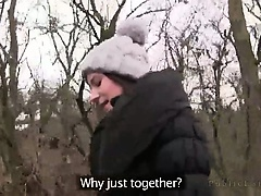 Brunette in pantyhose sucks huge dick and fucks in woods