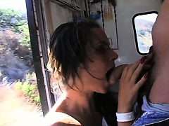 Wild MILF slut swallow cock in moving truck