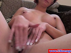 Sex casting ginger brit plays with her pussy