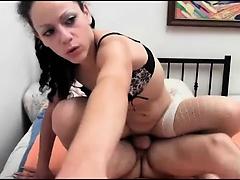 Brunette Riding A Cock