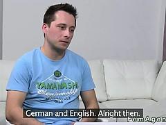 Female agent watches guy while masturbating and cumming