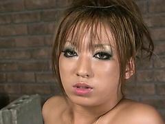 Sexy Hina Maeda takes on two hard cocks sucking and jerking