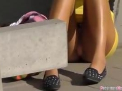 Hot teen babes upskirt gets spotted in public