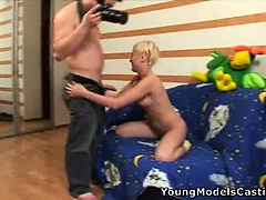 Hardcore sex casting with a hot teen blonde.