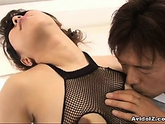 Bunko Kanazawa in fishnet kinky action here