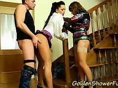 Golden shower loving babes piss