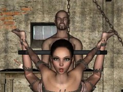 Tied up and hanging 3D brunette babe gets fucked