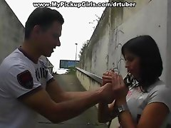 Outdoor blow job and sex with a hottie