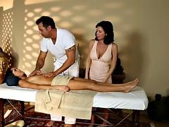 busty babe jizzed on pussy by masseur