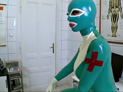 latex lucy and her gf have fun in a hospital wearing latex bodysuits
