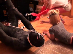 Two dominant amateur milfs punishing their naughty slave