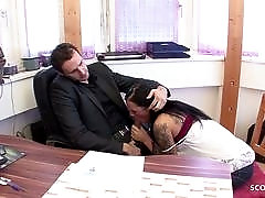 18yr old Teen Seduce Huge cock Boss to Fuck on Work - German