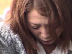 Asian babe rubs in public
