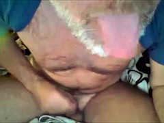 gray beard mature man ejaculates on her leg
