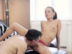 OLD4K. Hot sex of skinny girl and old man culminates with...