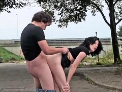 Slutty brunette with tiny tits gets fucked in a public park