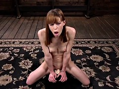 red head slut takes on the machines and the sybian