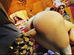 a guy with huge fat cock fucks mia and jasmine at costume party