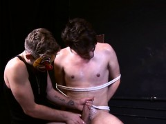 Restrained studs hard cock jerked off