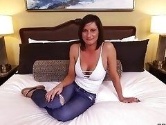 Tanned perfect Milf girl takes a thick cock inside her