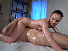 Lady Bug Young couple slow oily massage fuck