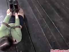 Hogtied sub spanked by dom master