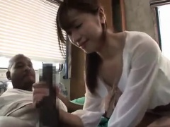 Moe Aiuchi Asian babe blowjob and hot cumshot