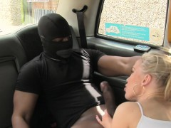 Huge boobs cab driver bangs big black cock in public