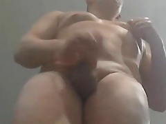 Muscular daddy shooting from above