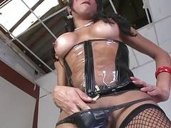 Kinky Latina shemale Jo Garcia jerks off her monster cock