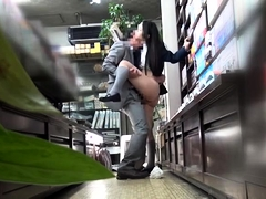 Adorable Japanese teen gets drilled hard in a public place