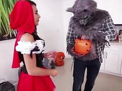Bigass teen Kharlie fucks on halloween