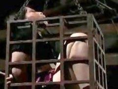 Caged skank enjoys humiliation by perverted dungeon master BDSM porn